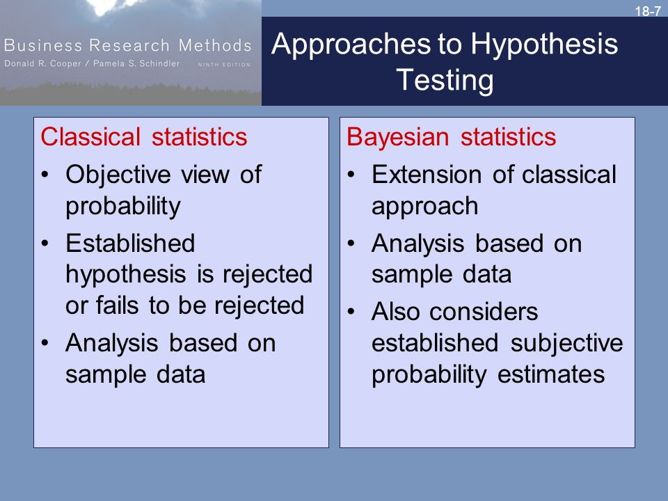 18-7 Approaches to Hypothesis Testing Classical statistics Objective view of probability Established hypothesis is rejected or fails to be rejected Analysis based on sample data Bayesian statistics Extension of classical approach Analysis based on sample data Also considers established subjective probability estimates