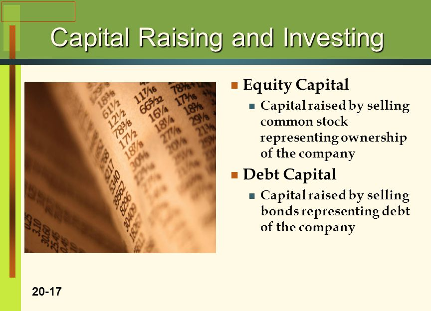 Capital Raising and Investing Equity Capital Capital raised by selling common stock representing ownership of the company Debt Capital Capital raised by selling bonds representing debt of the company 20-17