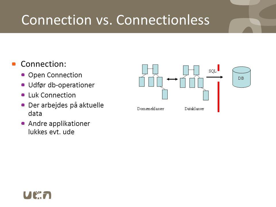 Connectionless: –Tag en kopi af et databaseudsnit –Udfør db-operationer på kopien –Andre applikationer kan ændre data –Der arbejdes evt.