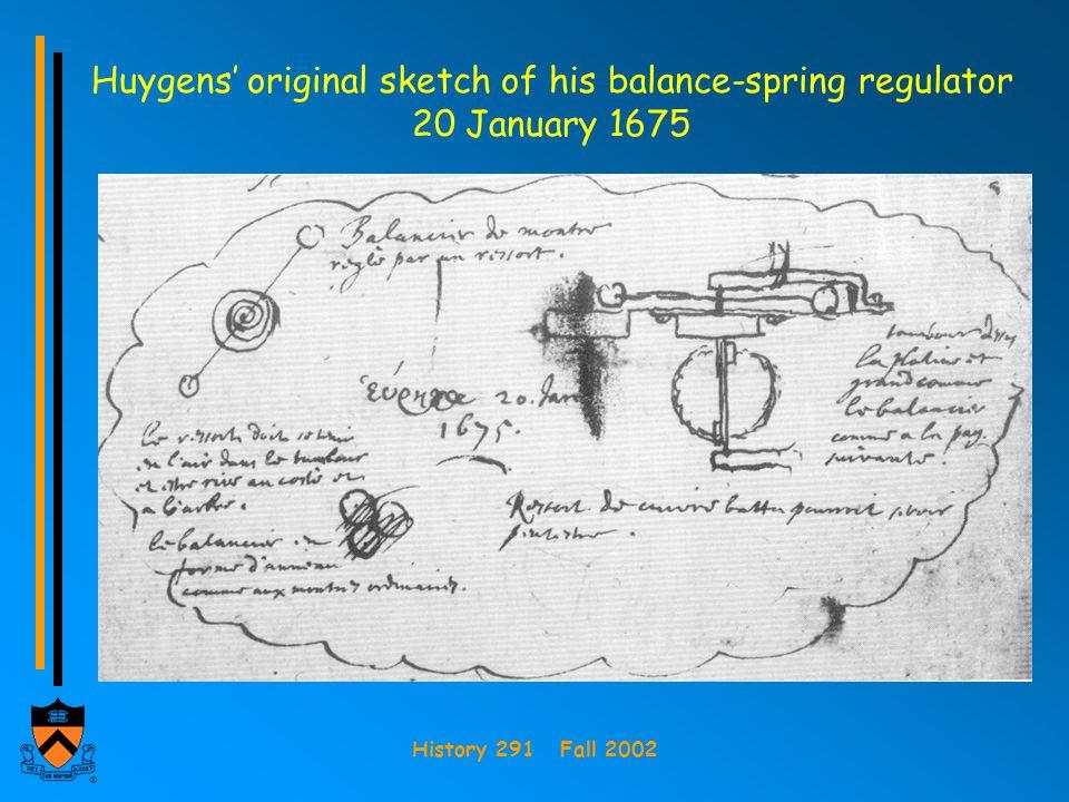 Huygens' original sketch of his balance-spring regulator 20 January 1675
