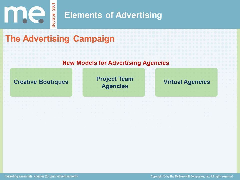 Elements of Advertising The Advertising Campaign Section 20.1 New Models for Advertising Agencies Creative Boutiques Project Team Agencies Virtual Age