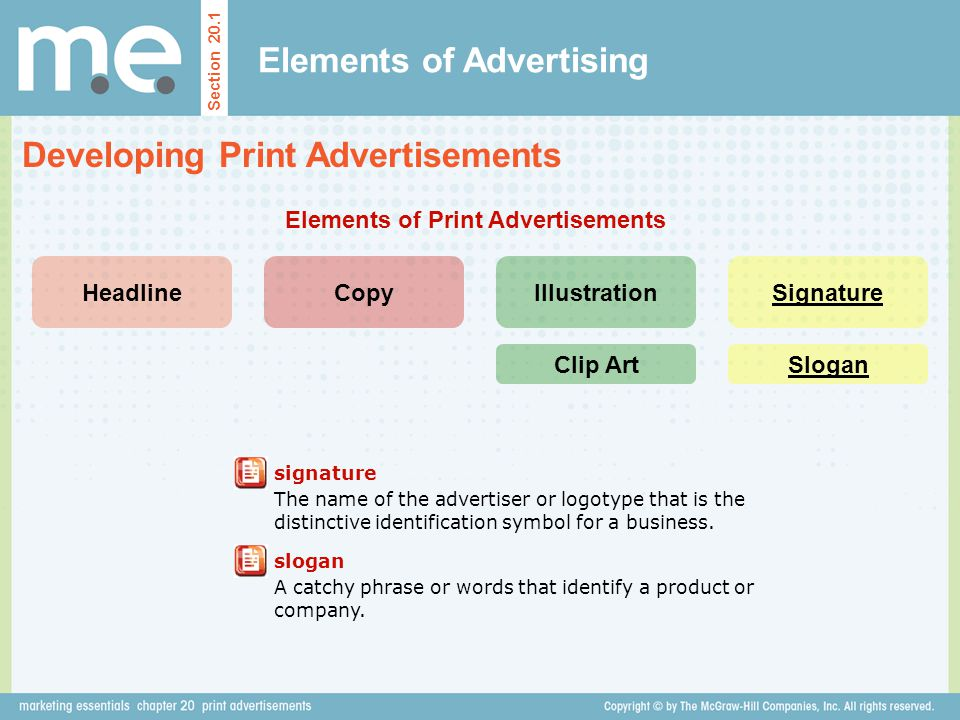 Elements of Advertising Developing Print Advertisements Section 20.1 HeadlineCopyIllustrationSignature Elements of Print Advertisements signature The