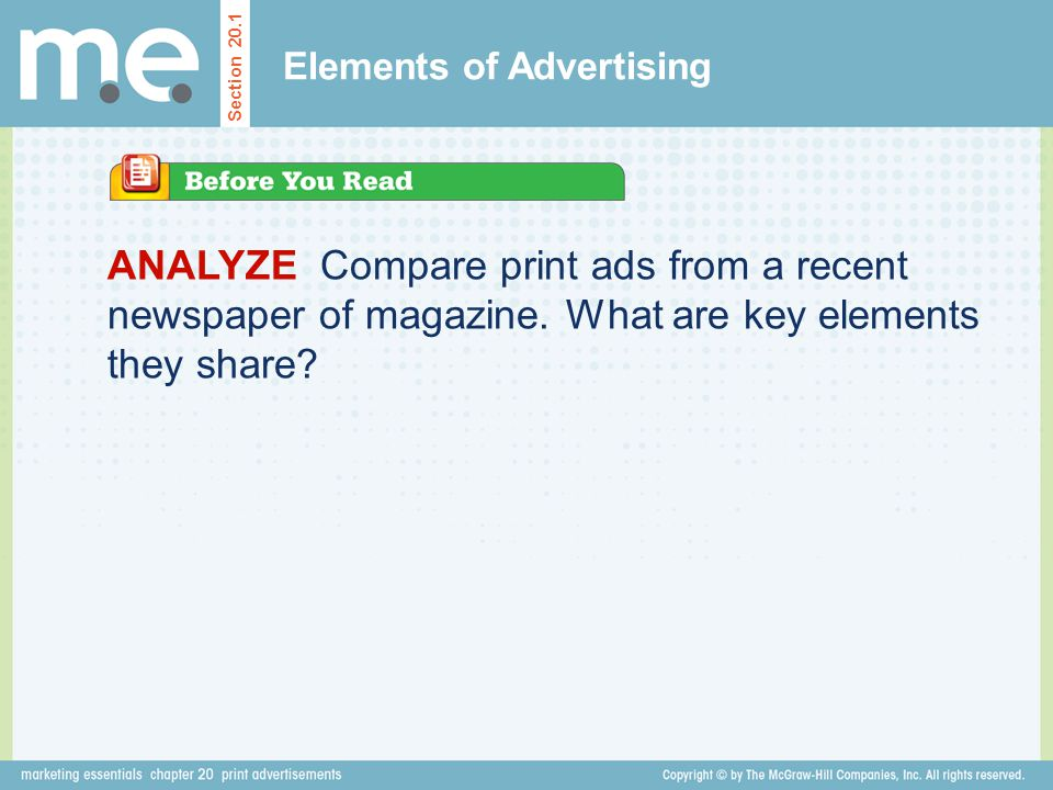 ANALYZE Compare print ads from a recent newspaper of magazine. What are key elements they share? Elements of Advertising Section 20.1