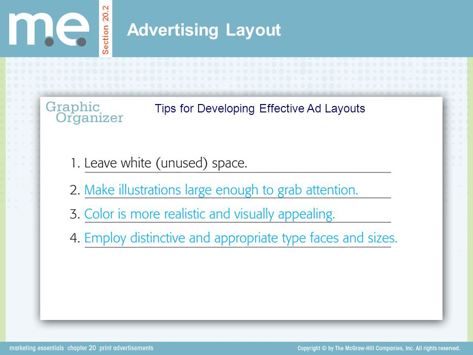 Advertising Layout Tips for Developing Effective Ad Layouts Section 20.2