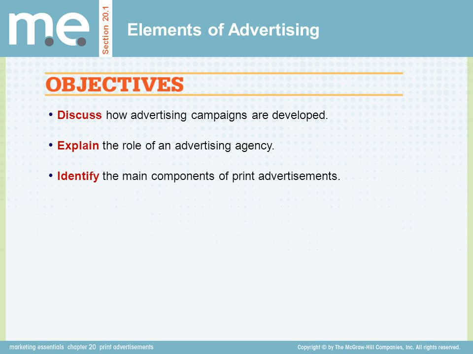 Discuss how advertising campaigns are developed. Explain the role of an advertising agency. Identify the main components of print advertisements. Sect
