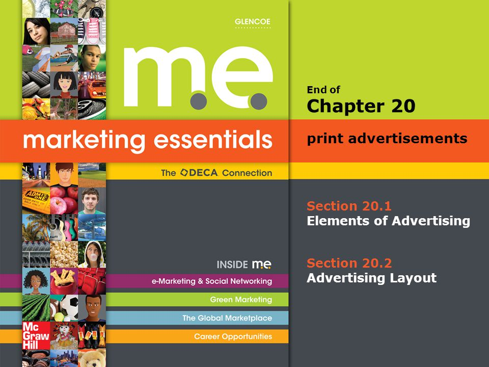 End of Section 20.1 Elements of Advertising Chapter 20 print advertisements Section 20.2 Advertising Layout