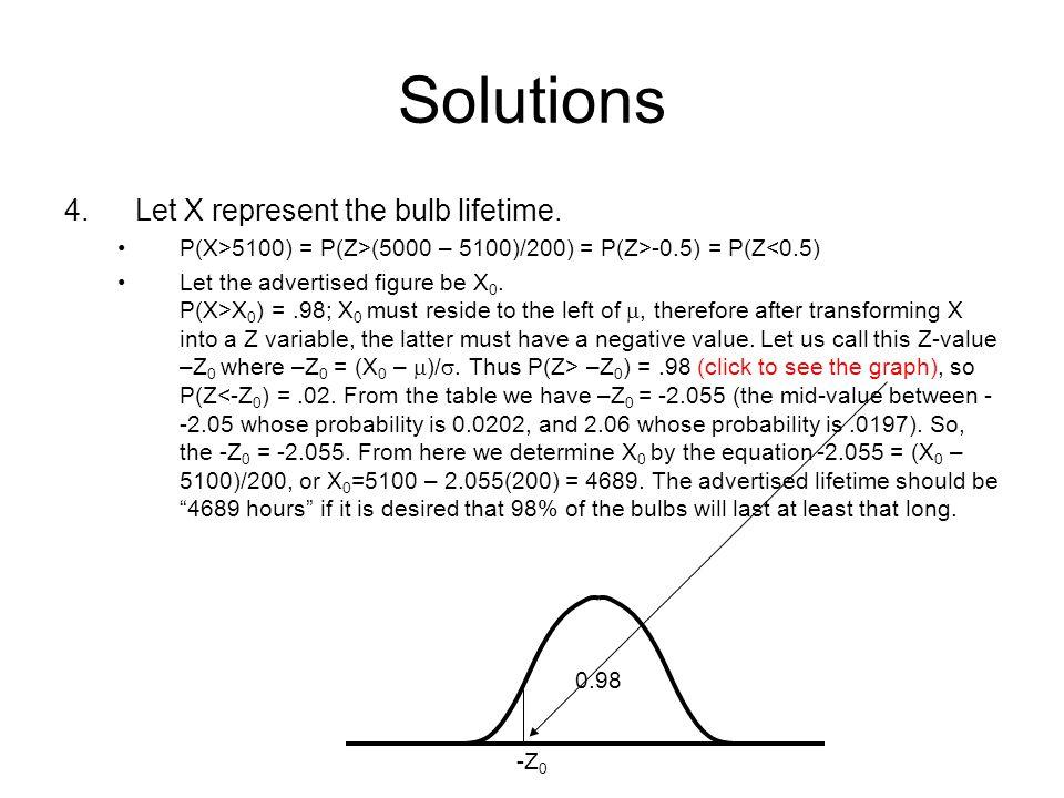 Solutions 4.Let X represent the bulb lifetime. P(X>5100) = P(Z>(5000 – 5100)/200) = P(Z>-0.5) = P(Z<0.5) Let the advertised figure be X 0. P(X>X 0 ) =