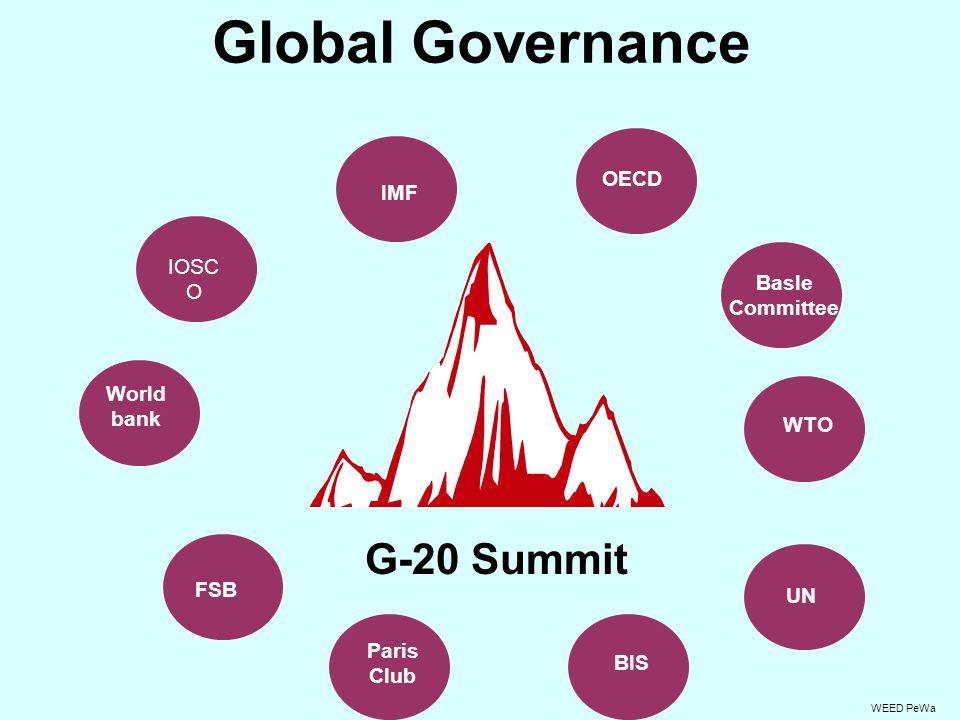 Global Governance G-20 Summit OECD FSB BIS UN IMF World bank Paris Club WTO WEED PeWa IOSC O Basle Committee