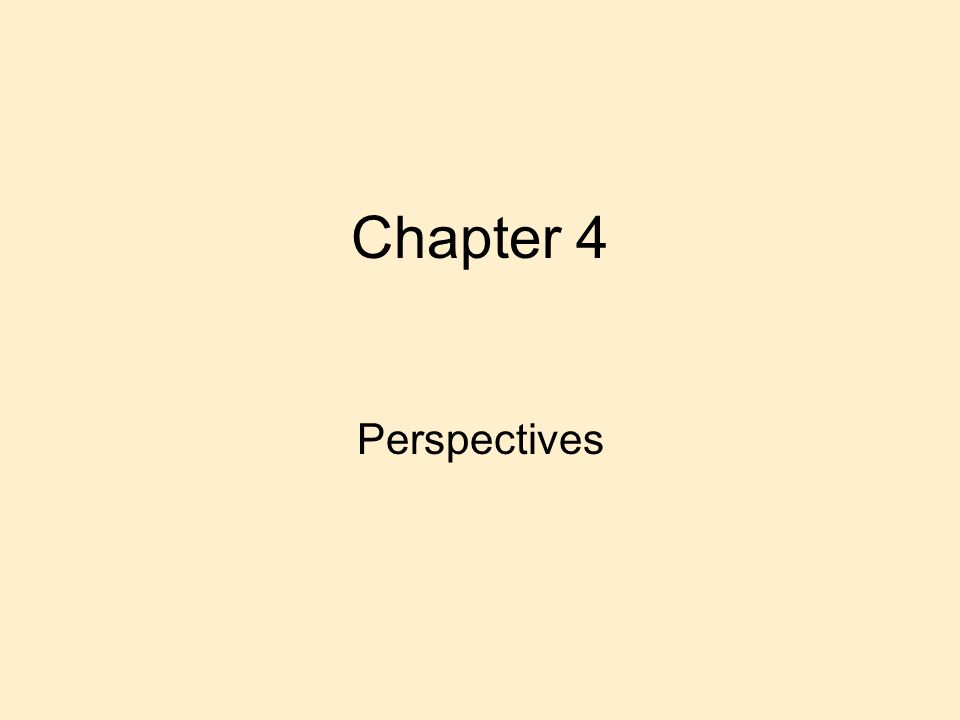 Chapter 4 Perspectives