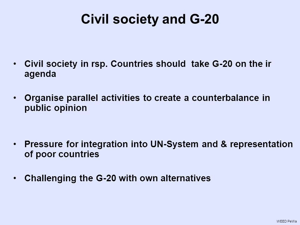 Civil society and G-20 Civil society in rsp.