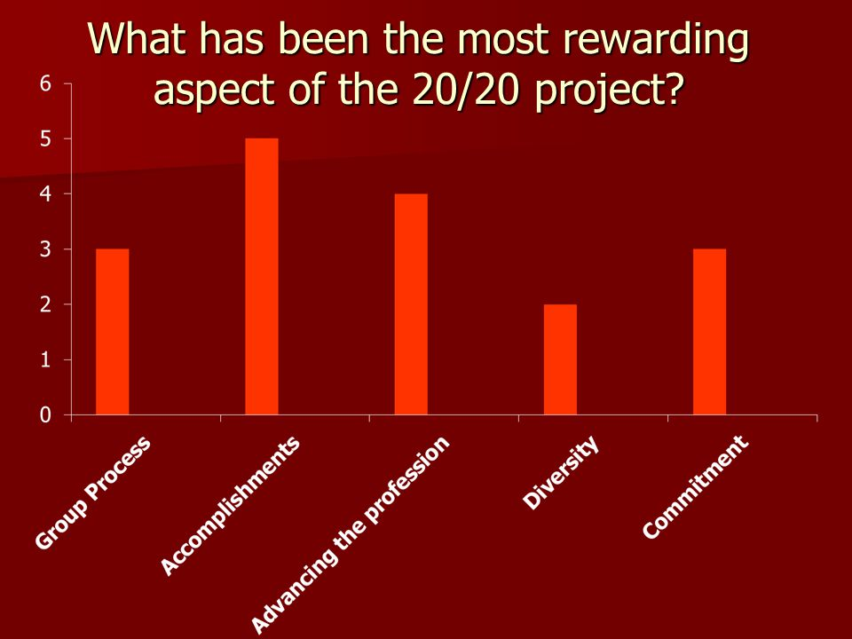 What has been the most rewarding aspect of the 20/20 project?