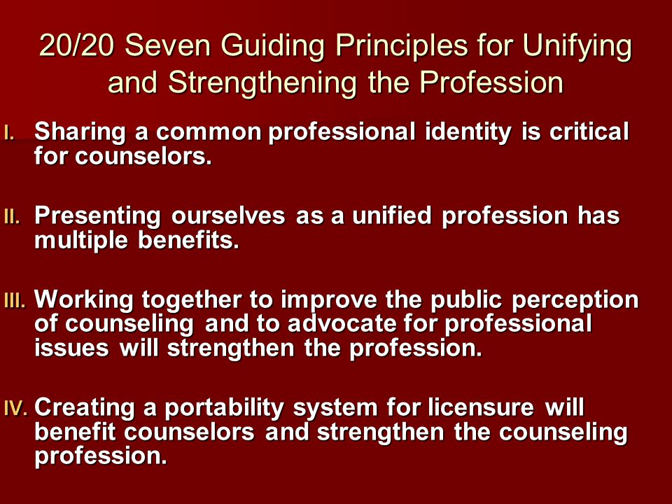 20/20 Principles for Unifying and Strengthening the Profession  Expanding and promoting our research base is essential to the efficacy of professional counselors and to the public perception of the profession.
