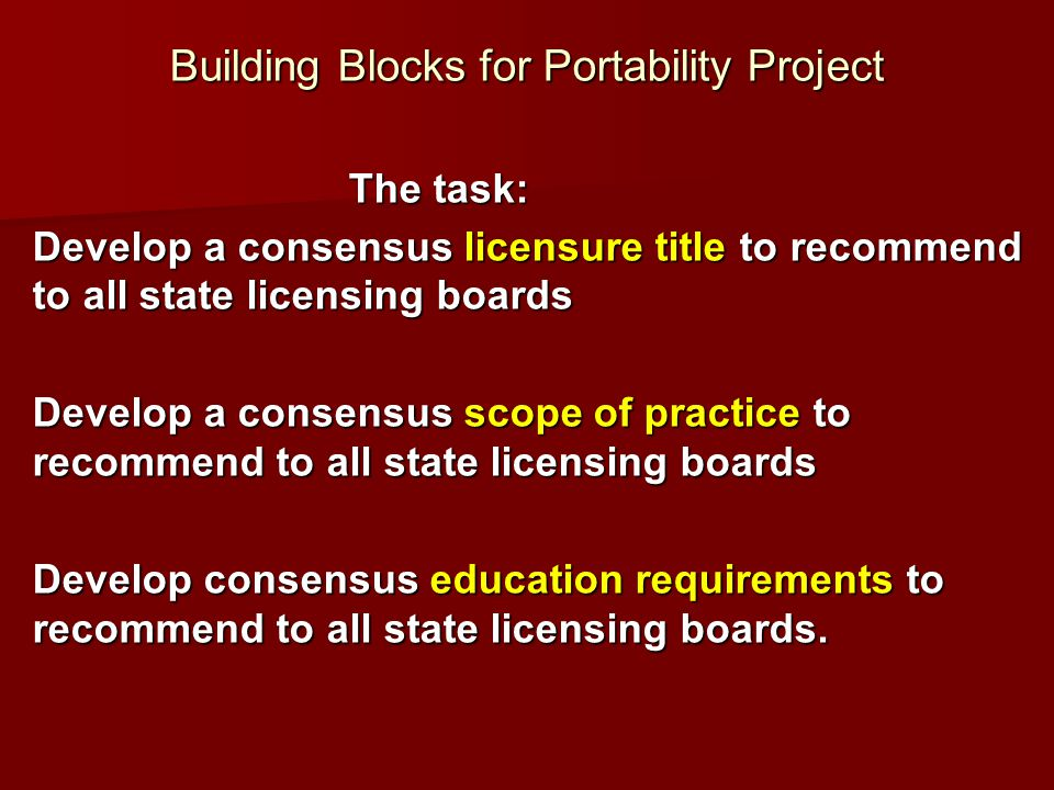 Building Blocks for Portability Project The task: Develop a consensus licensure title to recommend to all state licensing boards Develop a consensus s