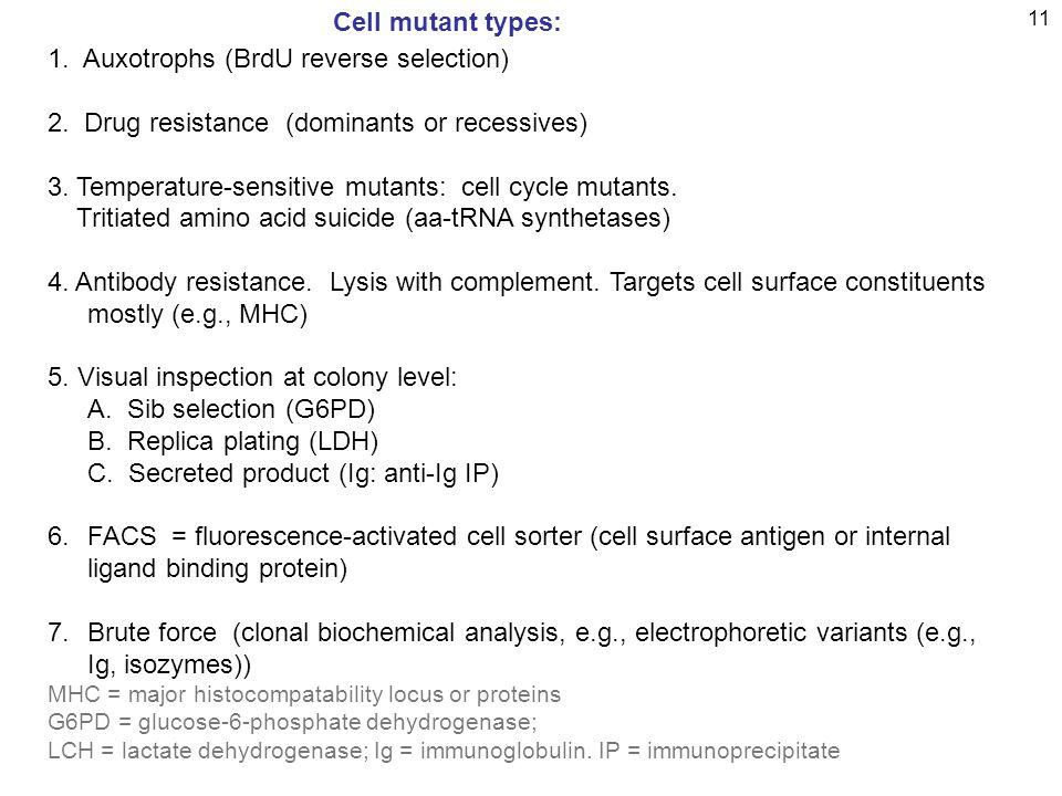 11 1.Auxotrophs (BrdU reverse selection) 2. Drug resistance (dominants or recessives) 3.