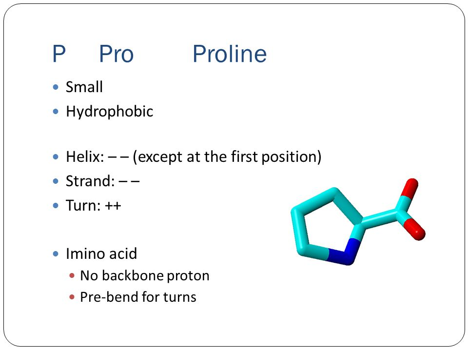 PProProline Small Hydrophobic Helix: – – (except at the first position) Strand: – – Turn: ++ Imino acid No backbone proton Pre-bend for turns