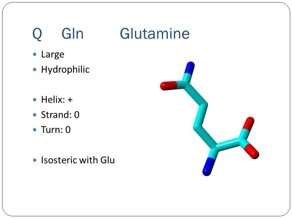 QGlnGlutamine Large Hydrophilic Helix: + Strand: 0 Turn: 0 Isosteric with Glu