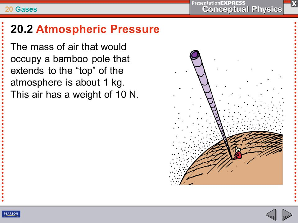 """20 Gases The mass of air that would occupy a bamboo pole that extends to the """"top"""" of the atmosphere is about 1 kg. This air has a weight of 10 N. 20."""