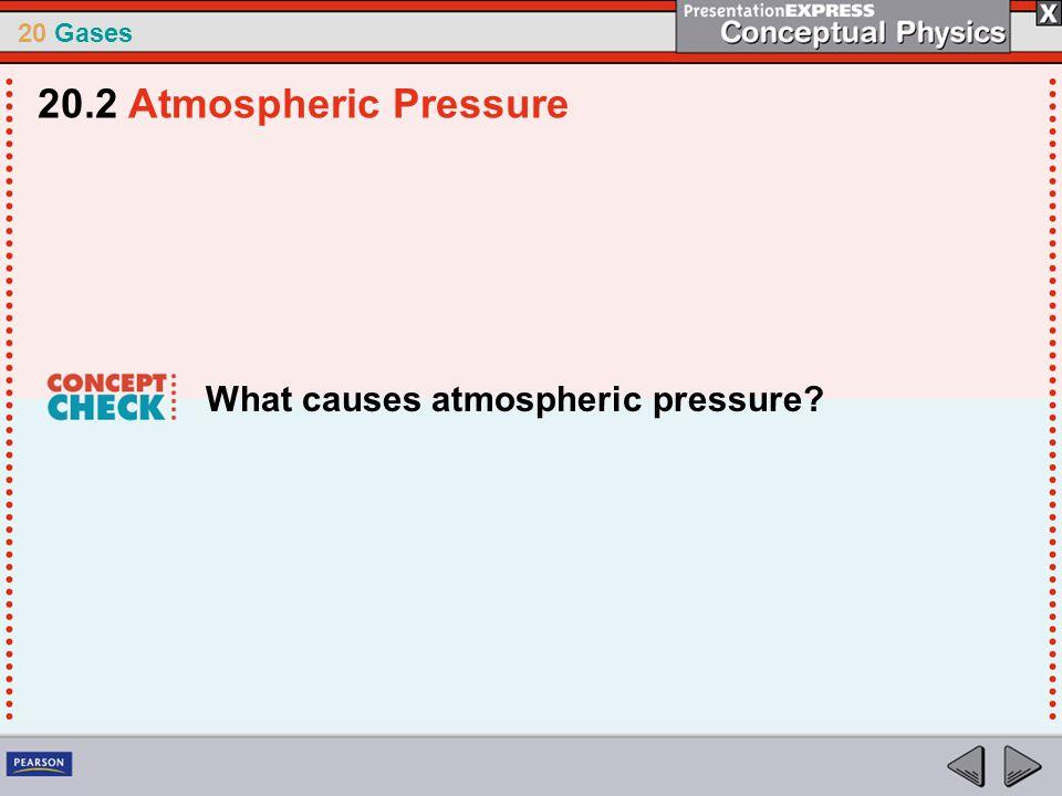 20 Gases What causes atmospheric pressure? 20.2 Atmospheric Pressure