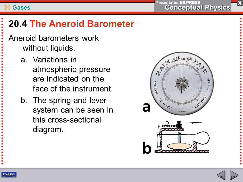 20 Gases Aneroid barometers work without liquids. a.Variations in atmospheric pressure are indicated on the face of the instrument. b.The spring-and-l