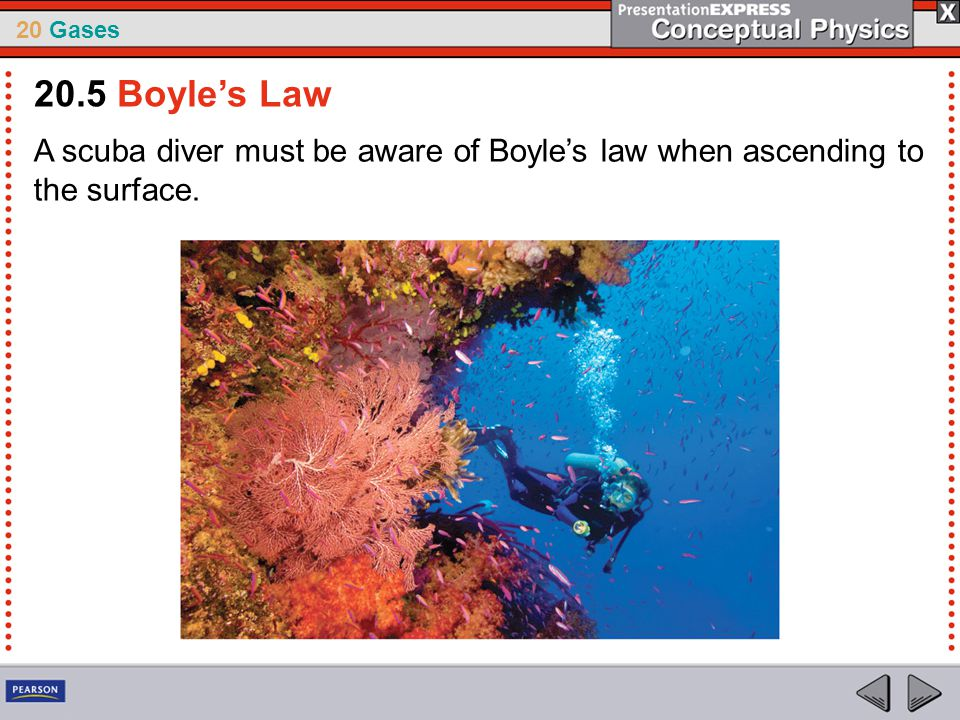20 Gases A scuba diver must be aware of Boyle's law when ascending to the surface. 20.5 Boyle's Law