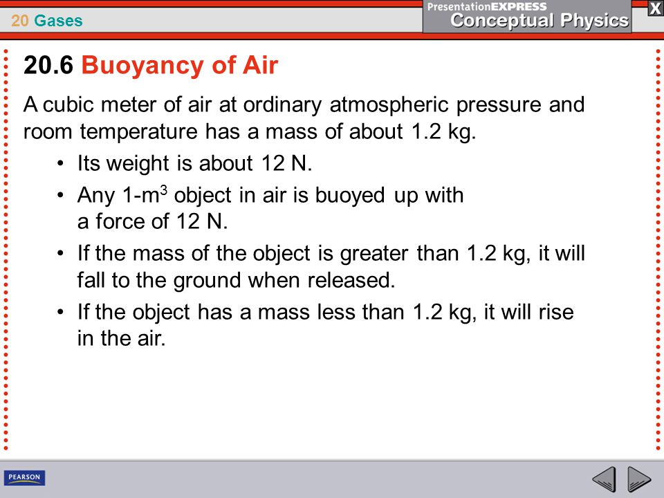20 Gases A cubic meter of air at ordinary atmospheric pressure and room temperature has a mass of about 1.2 kg. Its weight is about 12 N. Any 1-m 3 ob