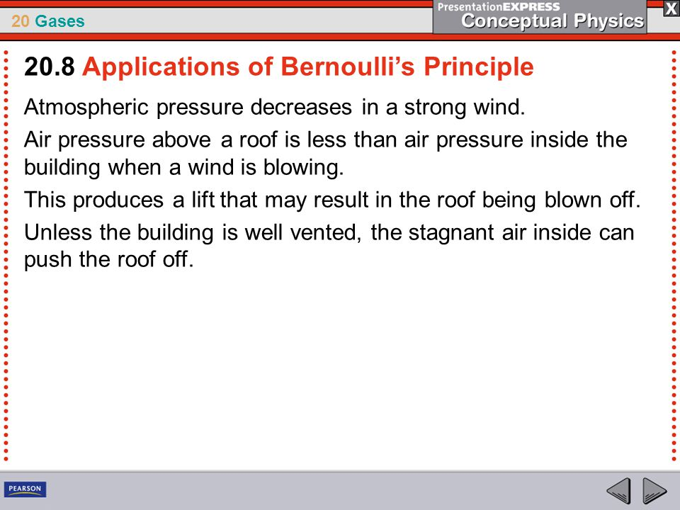 20 Gases Atmospheric pressure decreases in a strong wind. Air pressure above a roof is less than air pressure inside the building when a wind is blowi