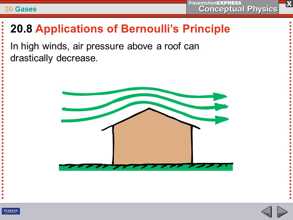 20 Gases In high winds, air pressure above a roof can drastically decrease. 20.8 Applications of Bernoulli's Principle