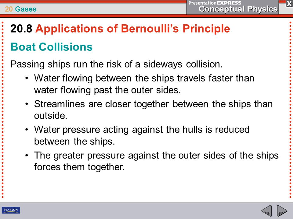 20 Gases Boat Collisions Passing ships run the risk of a sideways collision. Water flowing between the ships travels faster than water flowing past th