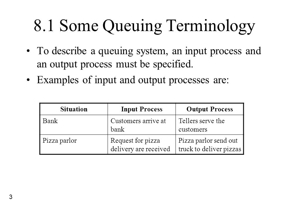 3 8.1 Some Queuing Terminology To describe a queuing system, an input process and an output process must be specified. Examples of input and output pr