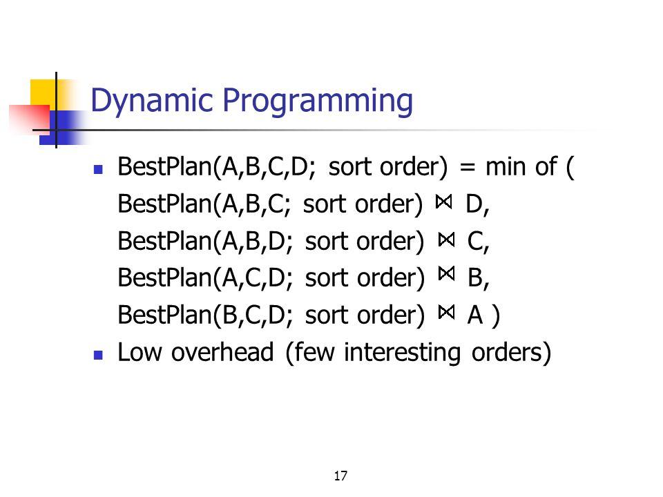 17 Dynamic Programming BestPlan(A,B,C,D; sort order) = min of ( BestPlan(A,B,C; sort order) D, BestPlan(A,B,D; sort order) C, BestPlan(A,C,D; sort ord