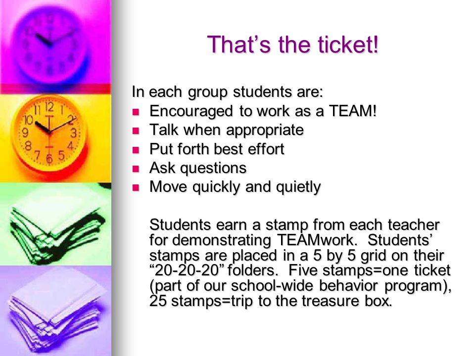 That's the ticket. In each group students are: Encouraged to work as a TEAM.