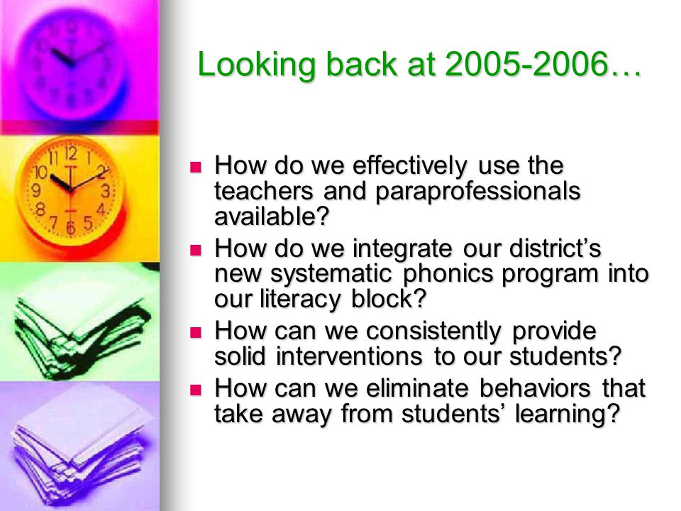 Looking back at 2005-2006… How do we effectively use the teachers and paraprofessionals available.