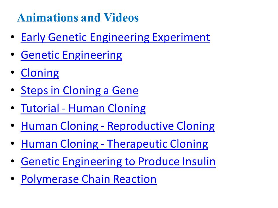 Animations and Videos Early Genetic Engineering Experiment Genetic Engineering Cloning Steps in Cloning a Gene Tutorial - Human Cloning Human Cloning
