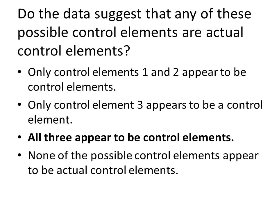 Do the data suggest that any of these possible control elements are actual control elements? Only control elements 1 and 2 appear to be control elemen
