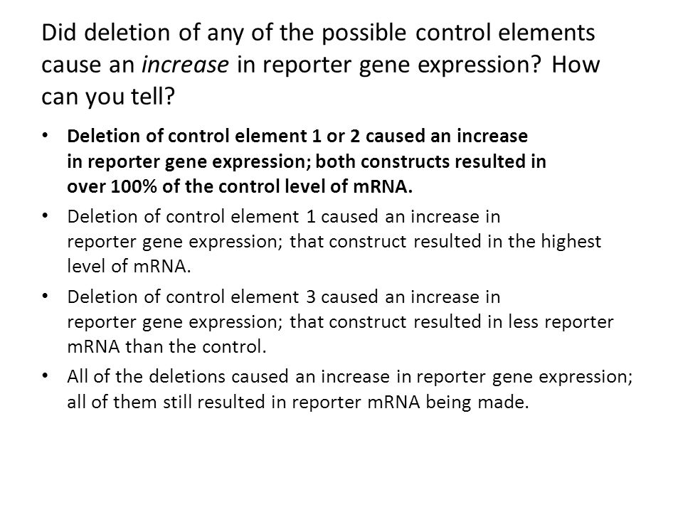 Did deletion of any of the possible control elements cause an increase in reporter gene expression? How can you tell? Deletion of control element 1 or