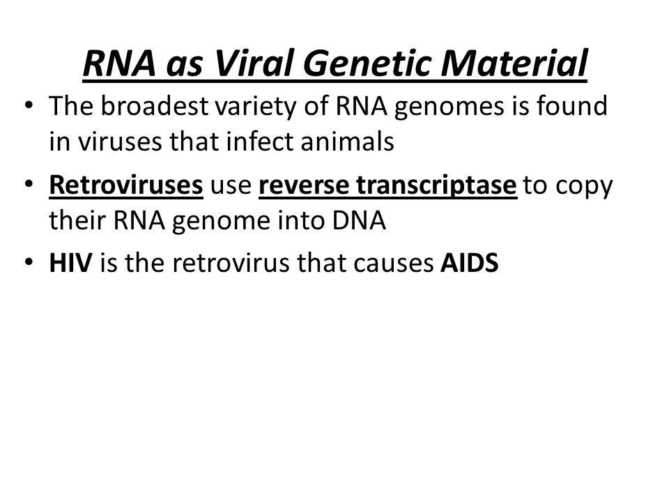 RNA as Viral Genetic Material The broadest variety of RNA genomes is found in viruses that infect animals Retroviruses use reverse transcriptase to co