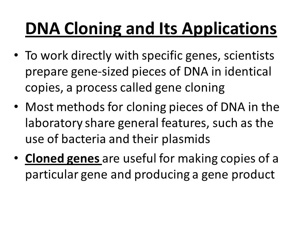 DNA Cloning and Its Applications To work directly with specific genes, scientists prepare gene-sized pieces of DNA in identical copies, a process call