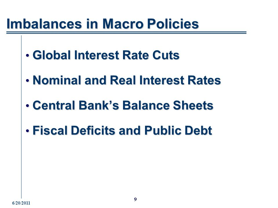6/20/ Global Interest Rate Cuts Global Interest Rate Cuts Nominal and Real Interest Rates Nominal and Real Interest Rates Central Bank's Balance Sheets Central Bank's Balance Sheets Fiscal Deficits and Public Debt Fiscal Deficits and Public Debt Imbalances in Macro Policies