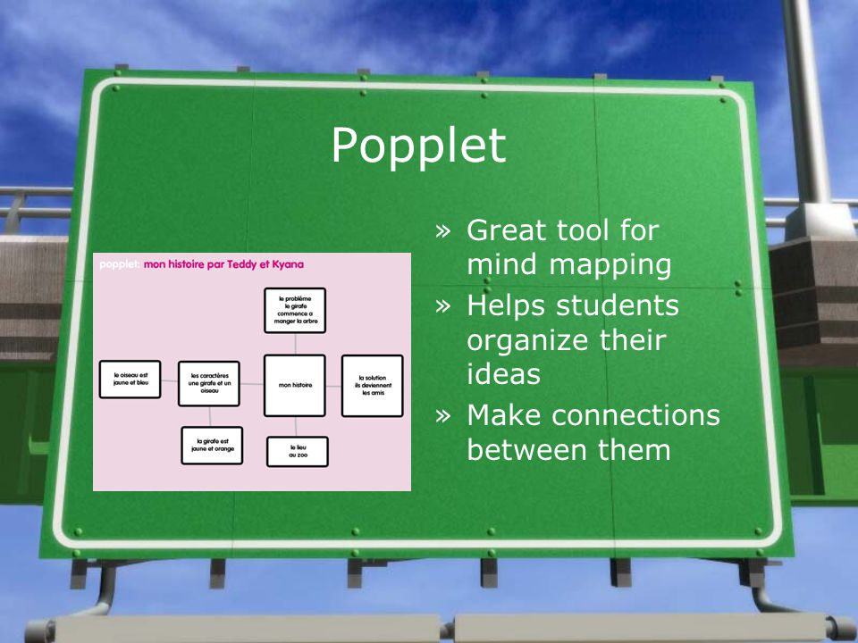 Popplet »Great tool for mind mapping »Helps students organize their ideas »Make connections between them »Great tool for mind mapping »Helps students