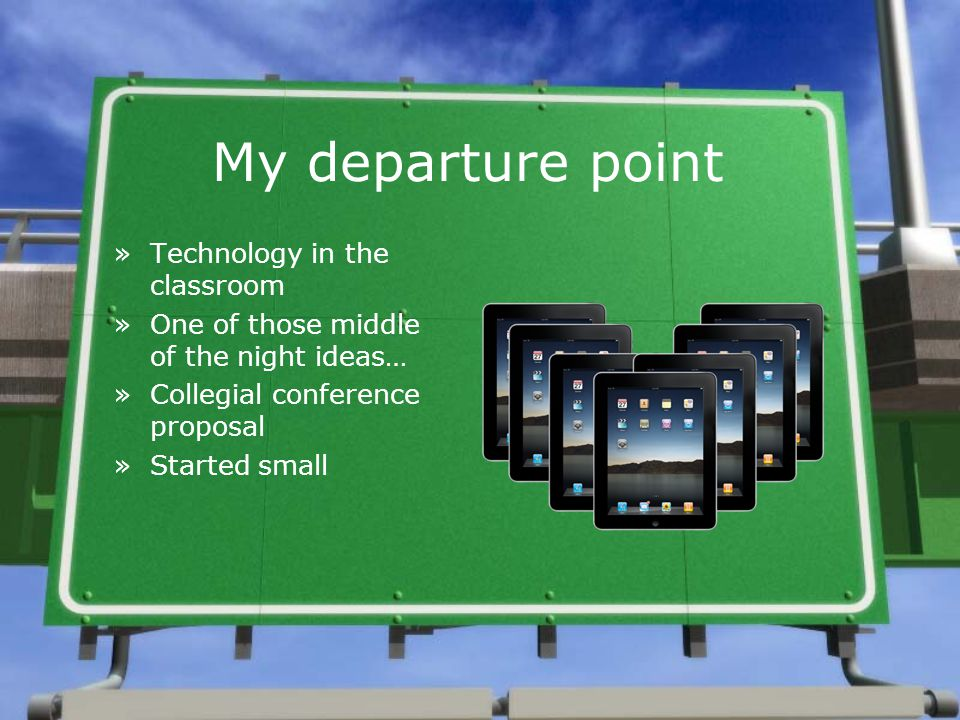 My departure point »Technology in the classroom »One of those middle of the night ideas… »Collegial conference proposal »Started small