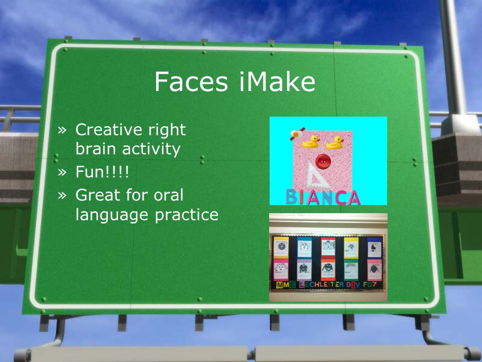 Faces iMake »Creative right brain activity »Fun!!!! »Great for oral language practice