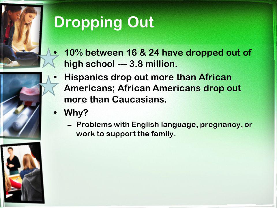 Dropping Out 10% between 16 & 24 have dropped out of high school --- 3.8 million. Hispanics drop out more than African Americans; African Americans dr