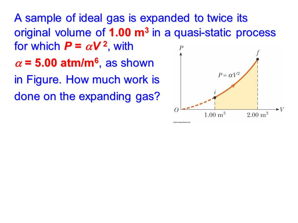 A sample of ideal gas is expanded to twice its original volume of 1.00 m 3 in a quasi-static process for which P =  V 2, with  = 5.00 atm/m 6, as shown in Figure.