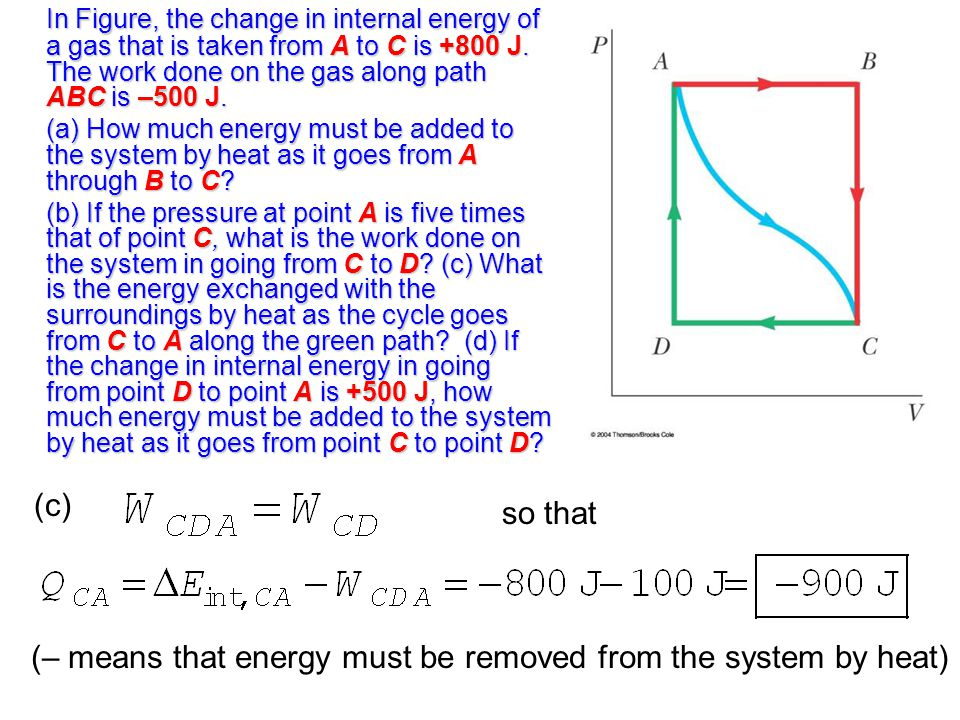 In Figure, the change in internal energy of a gas that is taken from A to C is +800 J.