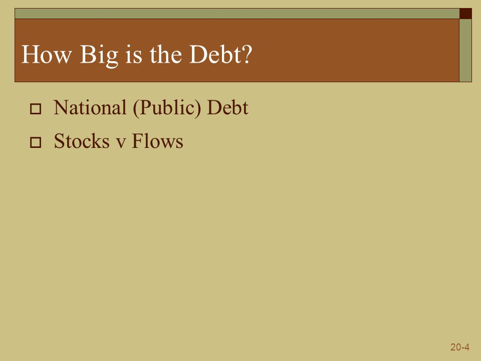 20-4 How Big is the Debt  National (Public) Debt  Stocks v Flows