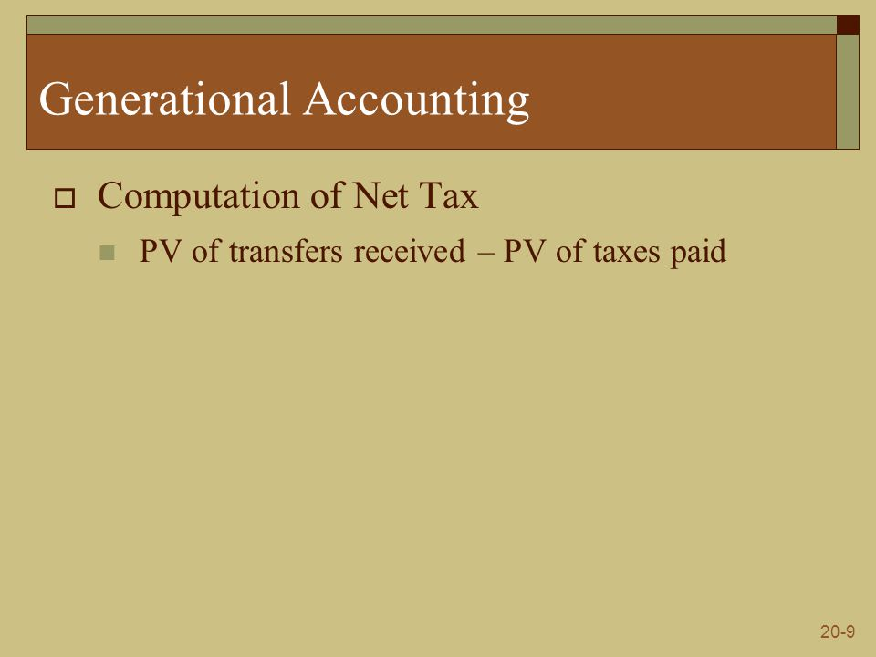 20-9 Generational Accounting  Computation of Net Tax PV of transfers received – PV of taxes paid