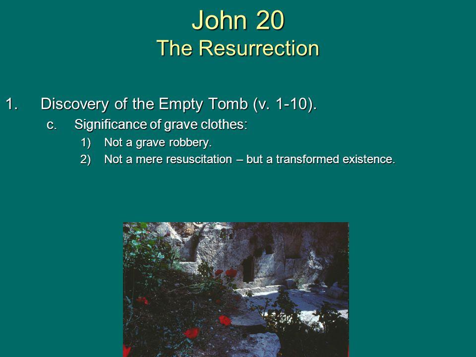 John 20 The Resurrection 1.Discovery of the Empty Tomb (v.
