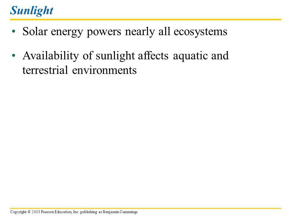 Copyright © 2003 Pearson Education, Inc. publishing as Benjamin Cummings Solar energy powers nearly all ecosystems Sunlight Availability of sunlight a