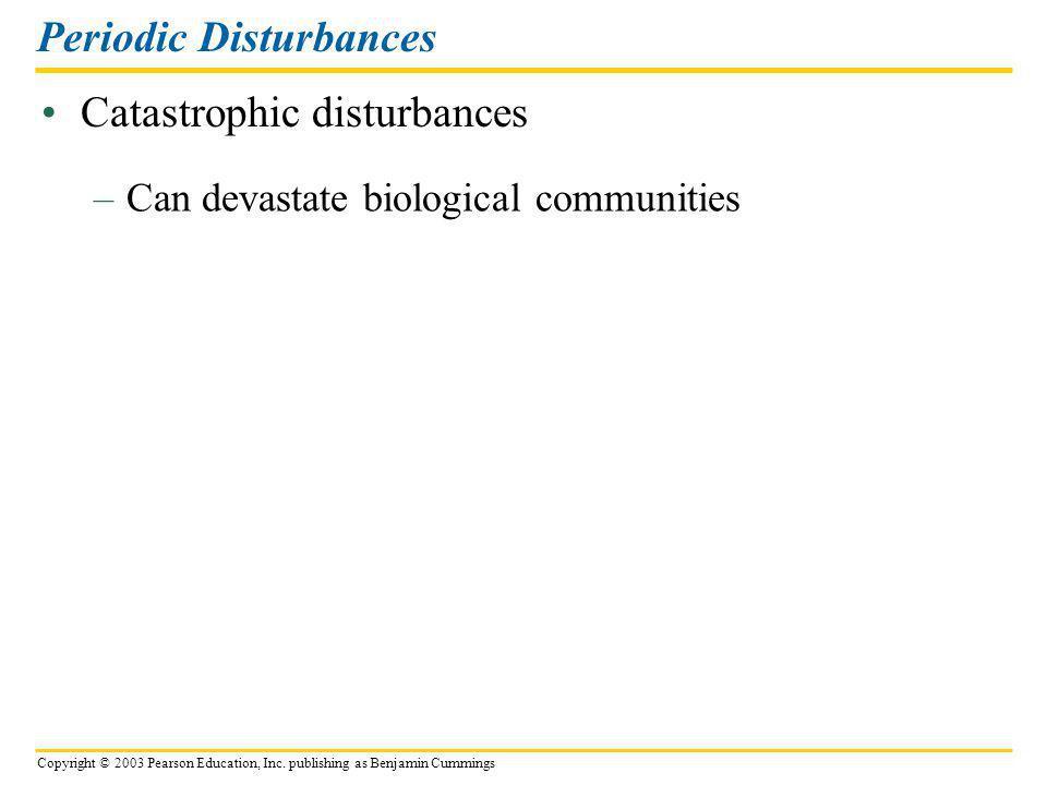 Copyright © 2003 Pearson Education, Inc. publishing as Benjamin Cummings Catastrophic disturbances Periodic Disturbances –Can devastate biological com