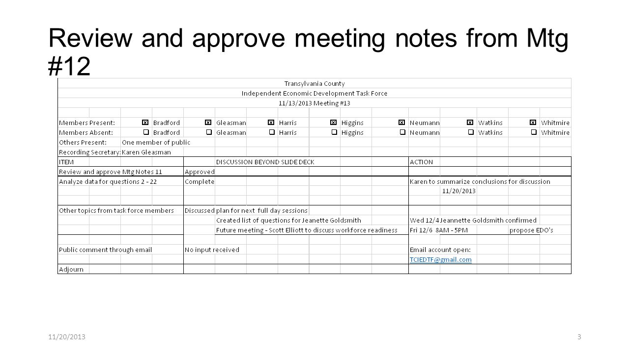 Review and approve meeting notes from Mtg #12 11/20/20133